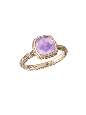 Pills, guilloched ring, rose gold, faceted amethyst, cushion size,