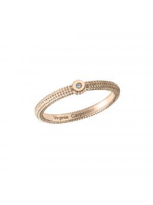 Pills, guilloched ring, 18k rose gold, white diamond,