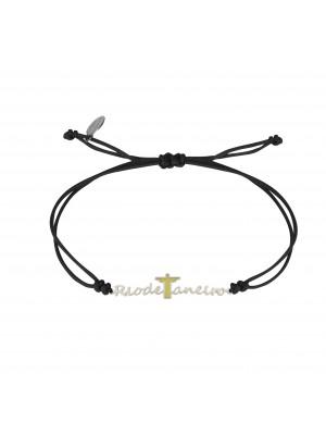 Globe-Trotter, Rio de Janeiro bracelet, 925 silver, white rhodium, nylon cord,