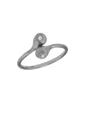 """""""Open Wallet"""", You & Me ring, purse clasp, sterling silver, black rhodium, white diamond,"""