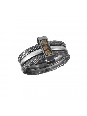 Pills trio chiseled ring, black and white gold, cognac diamonds