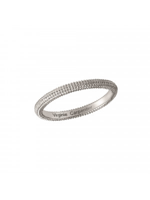 Pills, guilloched ring, 18k white gold,
