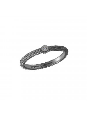 Pills, guilloched ring, silver 925, black rhodium, white diamond,