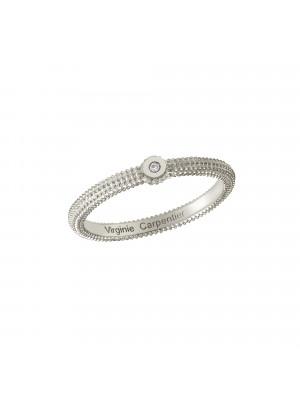 Pills, guilloched ring, 18k white gold, white diamond,