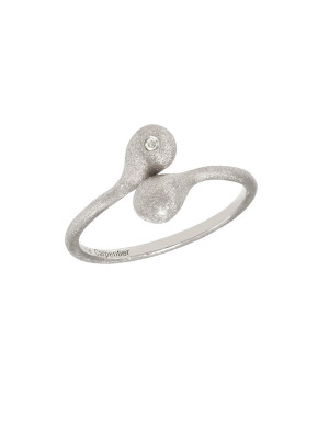 """""""Open Wallet"""", You & Me ring, purse clasp, sterling silver, white rhodium, white diamond,"""
