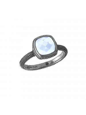 Pills, guilloched ring, black rhodium-plated, 925 silver, faceted blue topaz, cushion size,