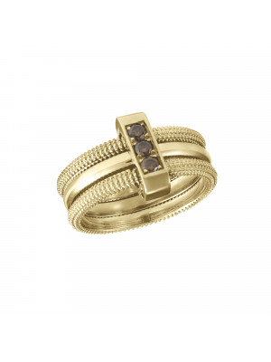 Pills, trio guilloche ring, yellow gold, Cognac diamonds,