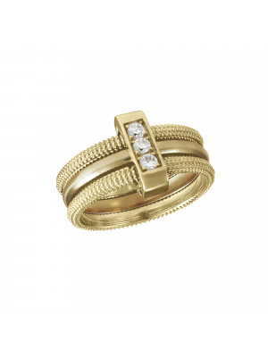 Pills, trio guilloche ring, yellow gold, white diamonds,