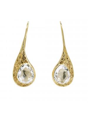 """La Larme du Crocodile"", 'The Crocodile Tear', drop earrings, filigree, yellow gold-plated 925 silver, Rock Crystal, faceted, pear cut,"