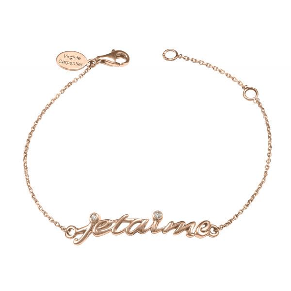 Bracelet chaîne 'Je t'aime' argent massif plaqué or rose et diamants