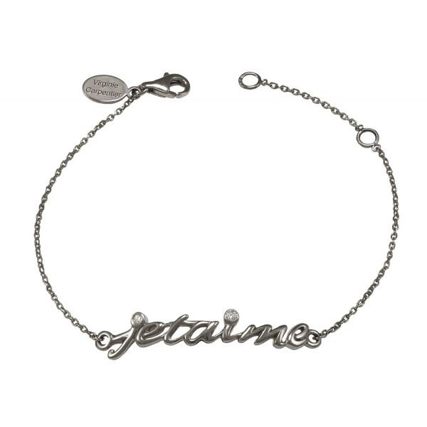Bracelet chaîne 'Je t'aime' argent massif rhodié noir et diamants