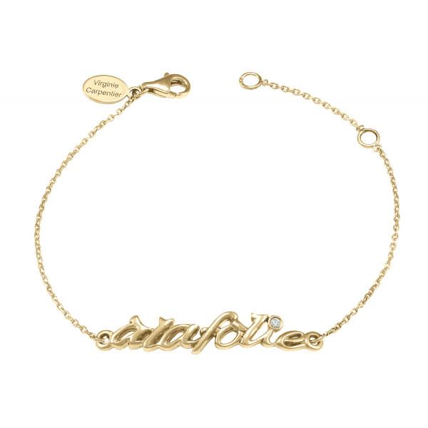 Bracelet, chaîne, 'à la folie', argent massif, plaqué or jaune, diamant blanc,