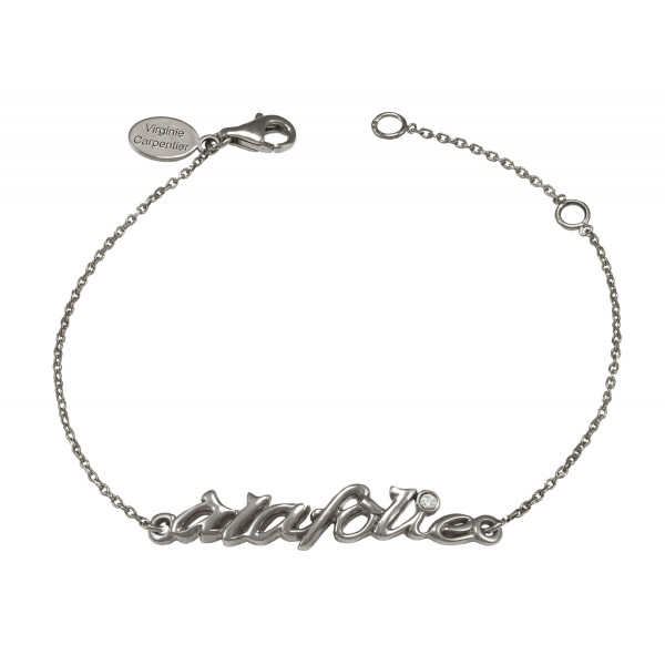 Bracelet, chaîne, 'à la folie', argent massif, rhodié noir, diamant blanc,