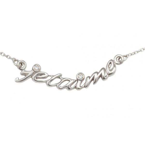 Collier ras de cou chaîne 'je t'aime' argent massif rhodié blanc et diamants