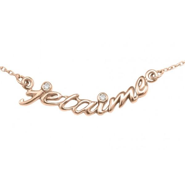 Collier, ras-de-cou, chaîne, 'je t'aime', argent massif plaqué or rose, diamants,