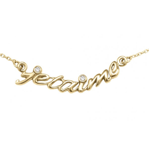Collier ras de cou chaîne 'je t'aime' argent massif plaqué or jaune et diamants