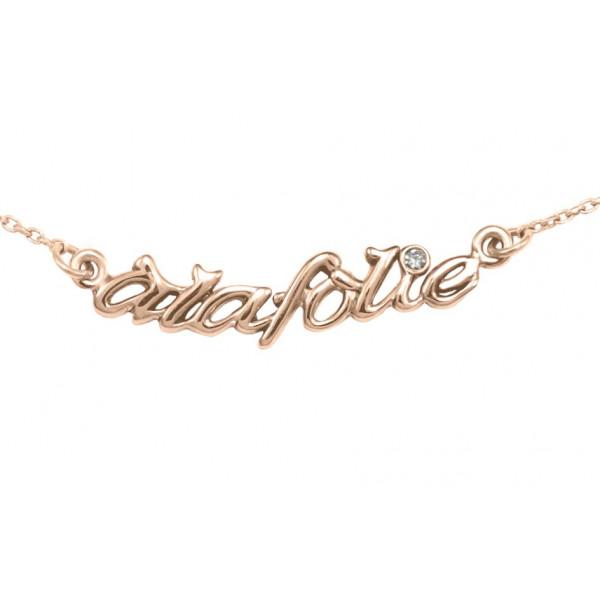 Collier, ras-de-cou, chaîne, 'à la folie', argent massif plaqué or rose, diamant blanc,