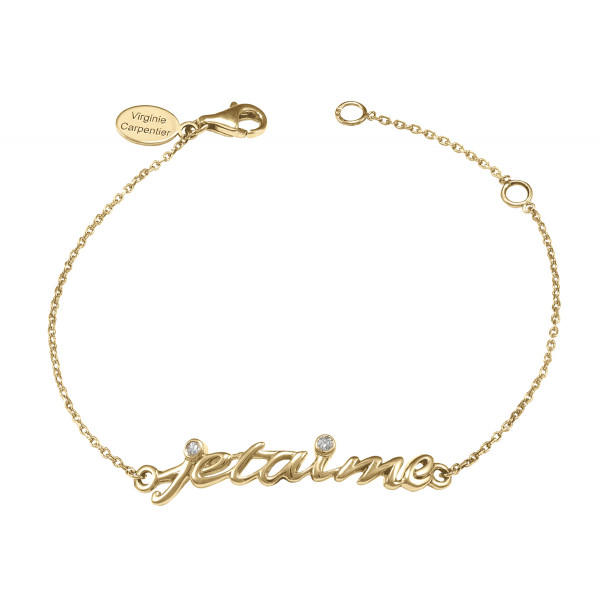 Bracelet, chaîne, 'Je t'aime', or jaune, diamants blancs,
