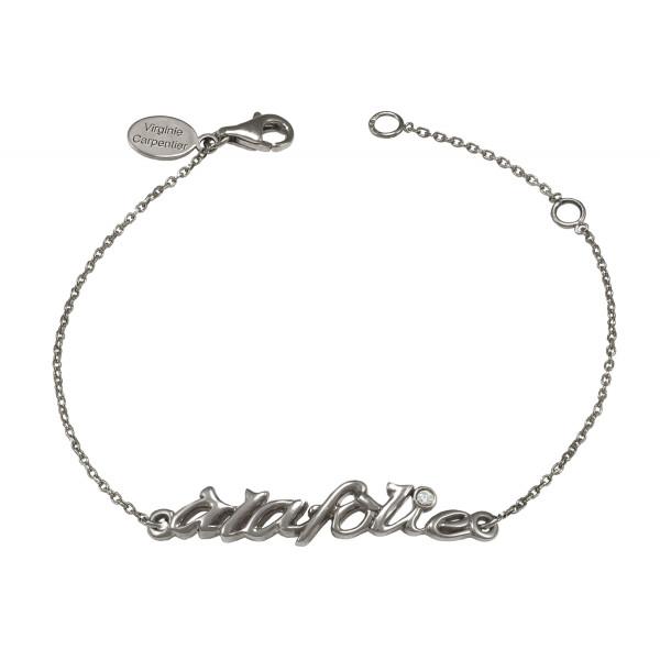 Bracelet chaîne 'à la folie' or noir et diamant blanc