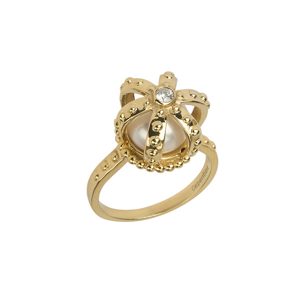 Princesse Tipois bague couronne, argent massif plaqué or jaune, perle d'eau douce, pierre synthétique Swarovski blanche