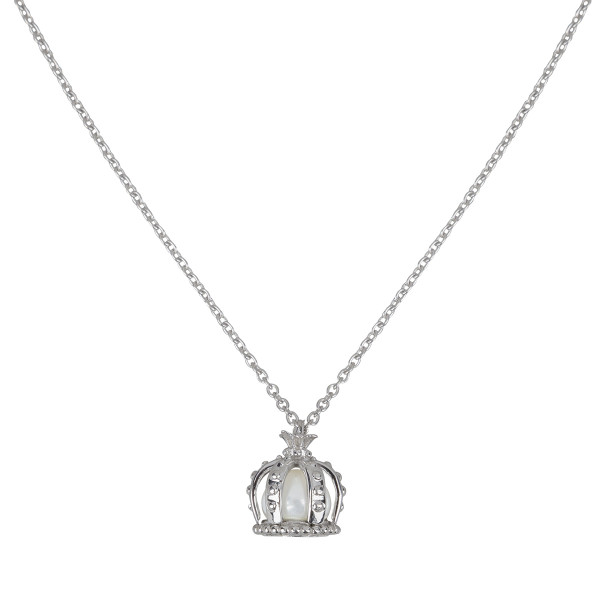 Princesse Tipois, collier chaîne, pendentif couronne, argent massif argent poli, perle d'eau douce