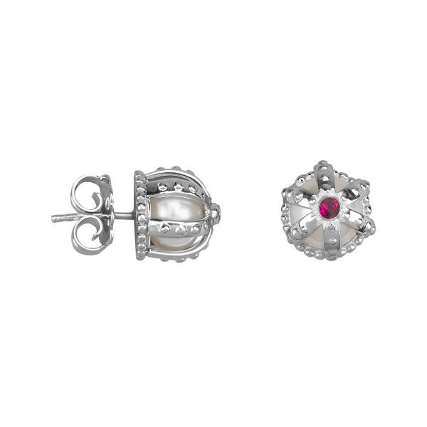 Princesse Tipois boucles d'oreille puces couronnes, argent massif, perle d'eau douce, pierre synthétique Swarovski rouge