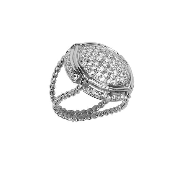 Champ ! bague chevalière capsule pavée de diamants blancs, anneau torsadé, or blanc