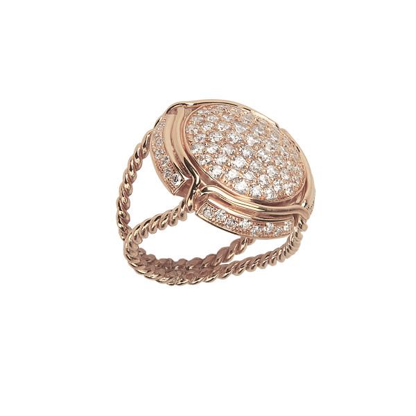 Champ !, bague chevalière, pavage diamants blancs, anneau torsadé, or rose