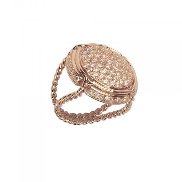 Champ ! bague chevalière capsule pavée de diamants champagne, anneau torsadé, or rose