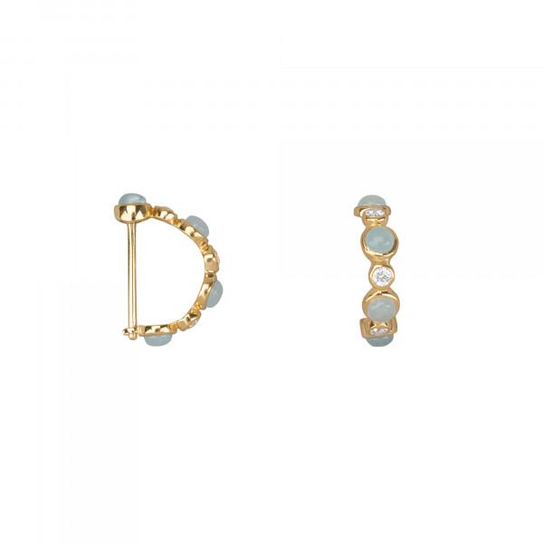 Marelle à Marbella, boucles d'oreille mini créoles, cabochons d'aigue-marine bleue milky, diamants blancs, or jaune