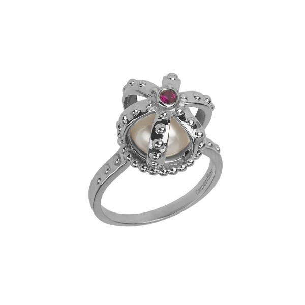 Princesse Tipois bague couronne, or blanc, perle d'eau douce, rhodolite rose