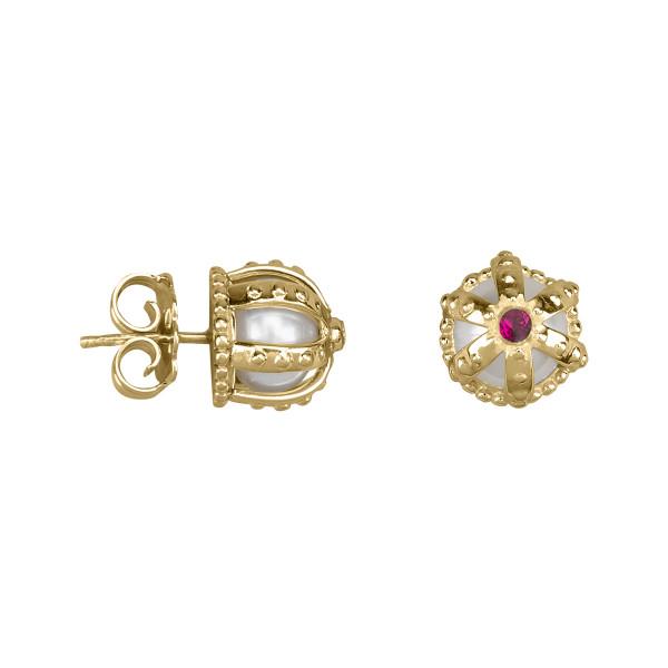 Princesse Tipois boucles d'oreille puces, couronnes, or jaune, perles d'eau douce, rhodolites roses
