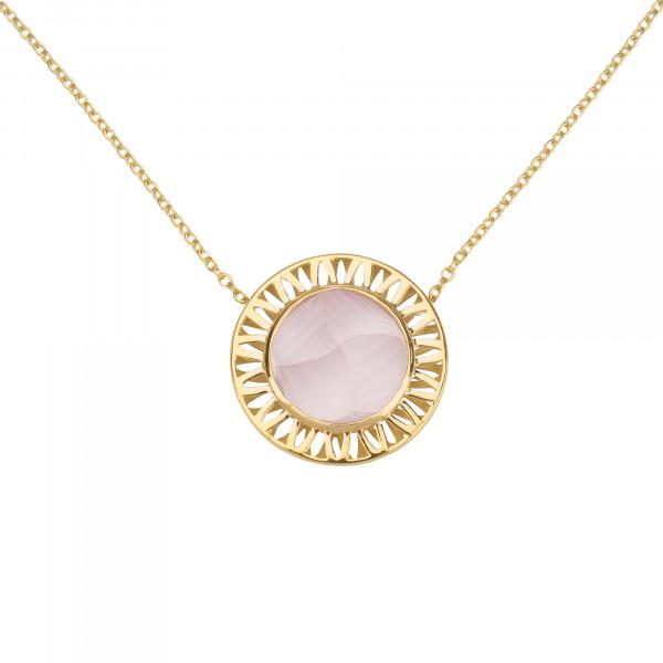 Ma cousine Tonkinoise, collier chaîne, pendentif, quartz rose conique, or jaune