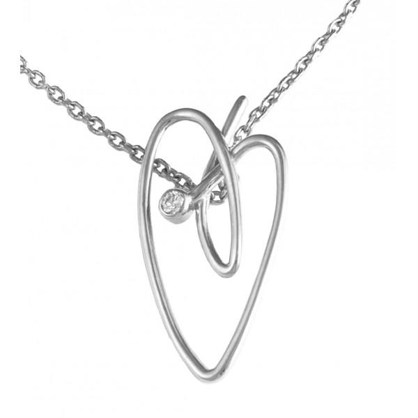 Joli Cœur collier, chaîne ras de cou et pendentif cœur, or blanc et diamant blanc