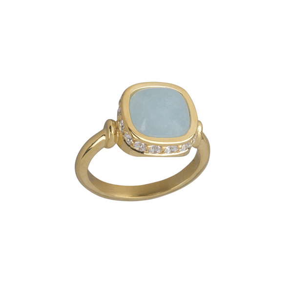 Marelle à Marbella, bague or jaune, aigue-marine milky, taille cabochon coussin, diamants blancs