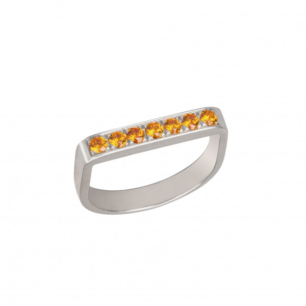 Baby Candy, bague étrier, or blanc, spessartites orange,