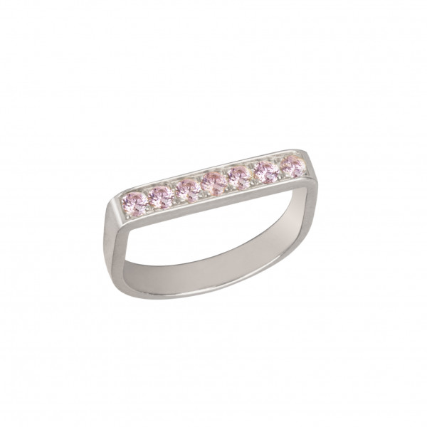 Baby Candy bague étrier or blanc, topazes roses