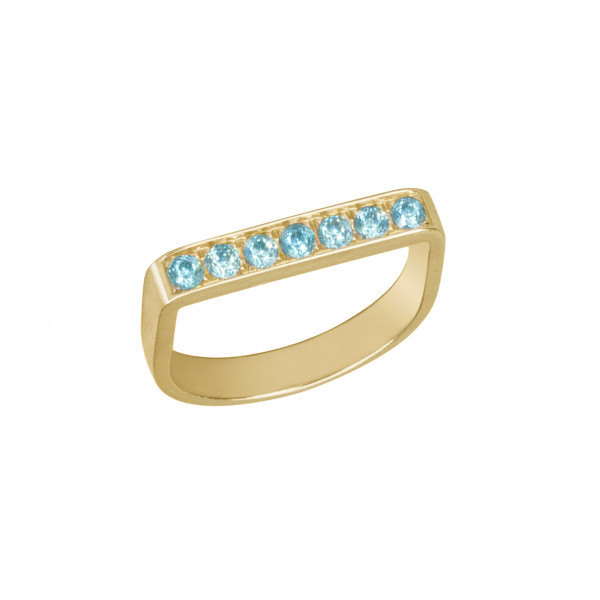 """Baby Candy,"" bague étrier, or jaune, topazes bleues, ""ice blue"","
