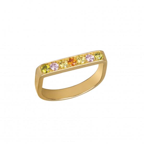 Baby Candy bague étrier, argent massif plaqué or jaune, pierres Swarovski de mutiple couleurs