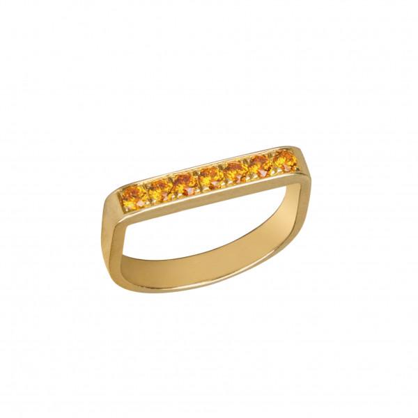 Baby Candy bague étrier argent massif plaqué or jaune, pierres Swarovski orange