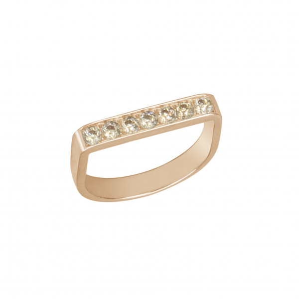 Baby Candy, bague étrier, or rose, diamants Champagne,