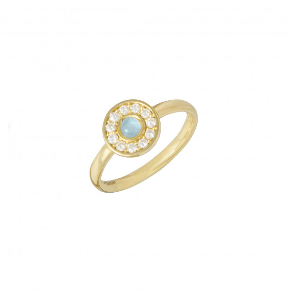 Marelle à Marbella, bague, or jaune, Aigue-Marine Milky, taille cabochon, diamants blancs