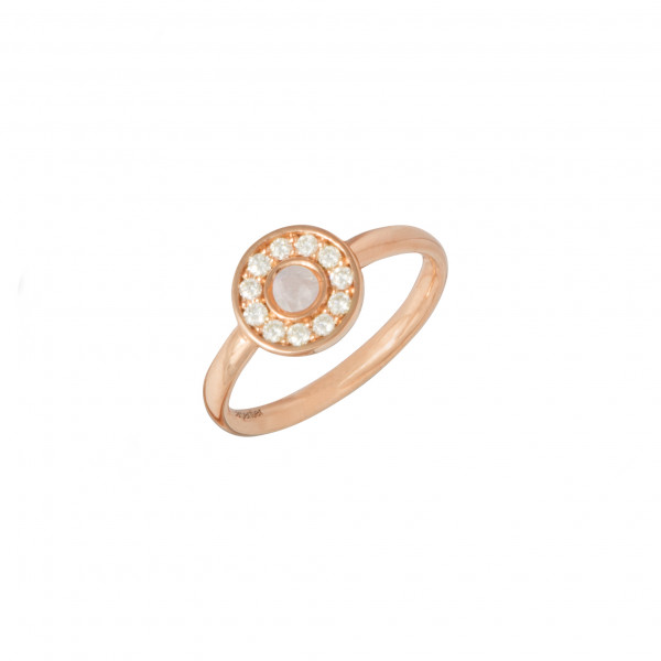 Marelle à Marbella, bague, or rose, Pierre de Lune, taille cabochon, diamants blancs