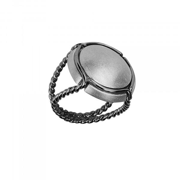 Champ!, bague chevalière, capsule satinée, argent rhodié blanc, anneau torsadé, argent rhodié noir,