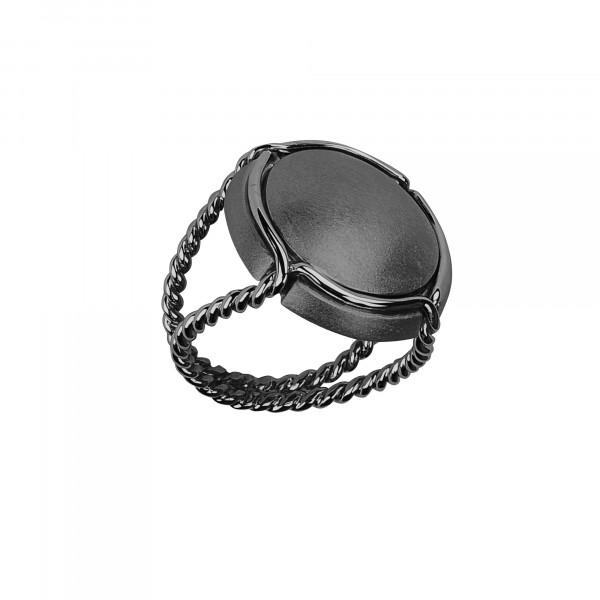 Champ bague chevalière capsule satinée, anneau torsadé, argent massif rhodié noir