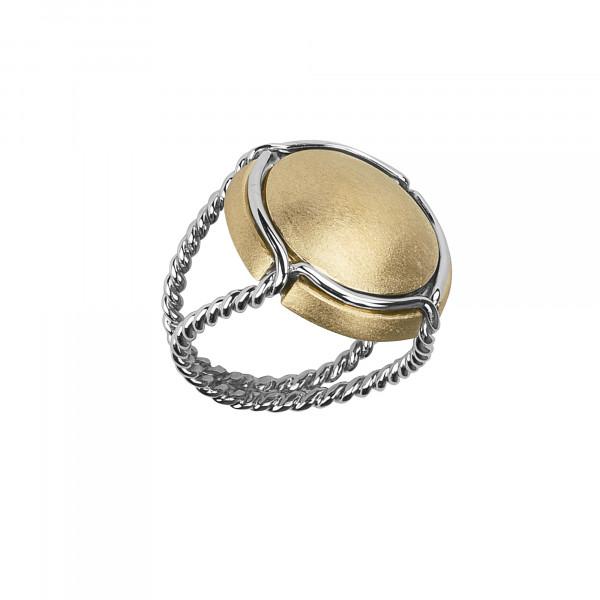 Champ !, bague chevalière, capsule satinée, argent plaqué or jaune, anneau torsadé, argent rhodié blanc