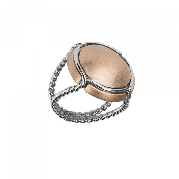 Champ bague chevalière capsule satinée or rose, anneau torsadé or blanc