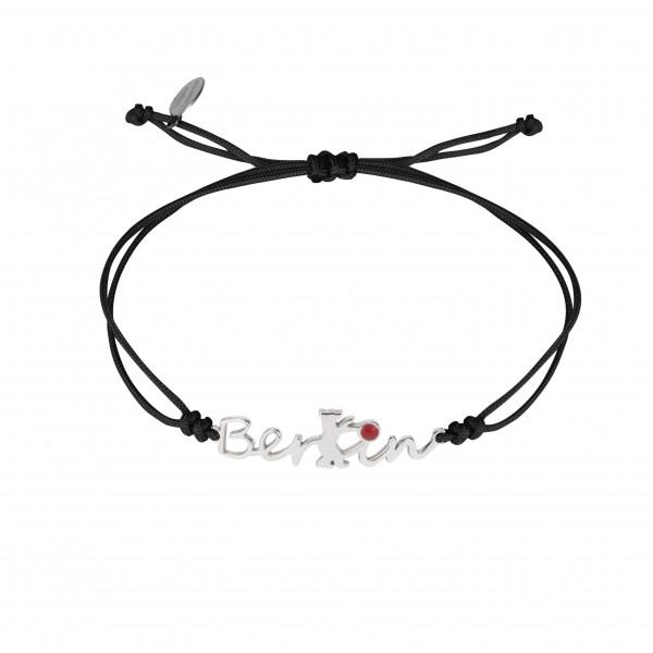 Globe-Trotter, bracelet Berlin, argent massif, rhodié blanc, cordon nylon,