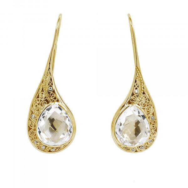 La larme du Crocodile' boucles d'oreille dormeuses filigrane or jaune, cristal de roche facetté taille poire, diamants blancs