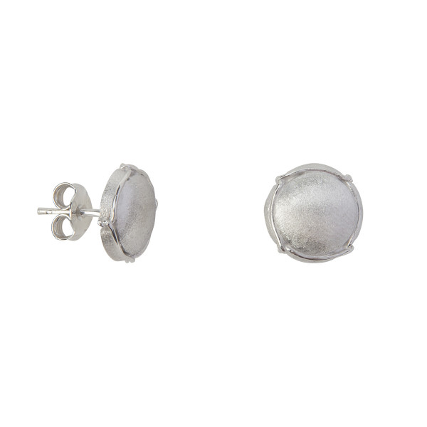 Champ!, boucles d'oreille puces, mini-capsules, or blanc satiné, muselet or blanc,